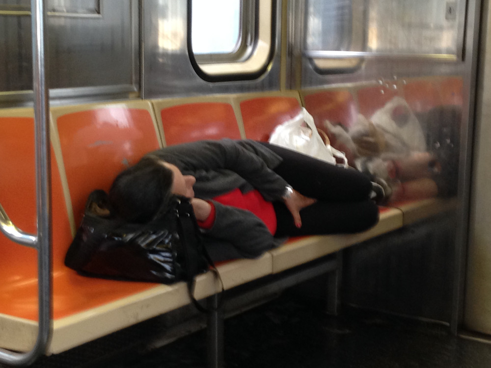 Woman Sleeping on the 1 train takes up 4 seats #3