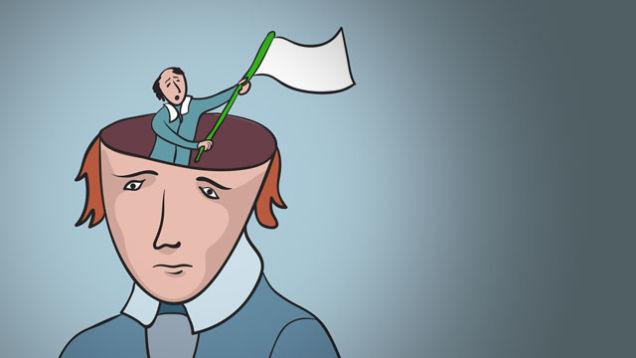 cartoon of little man waving surrender flag in man's head