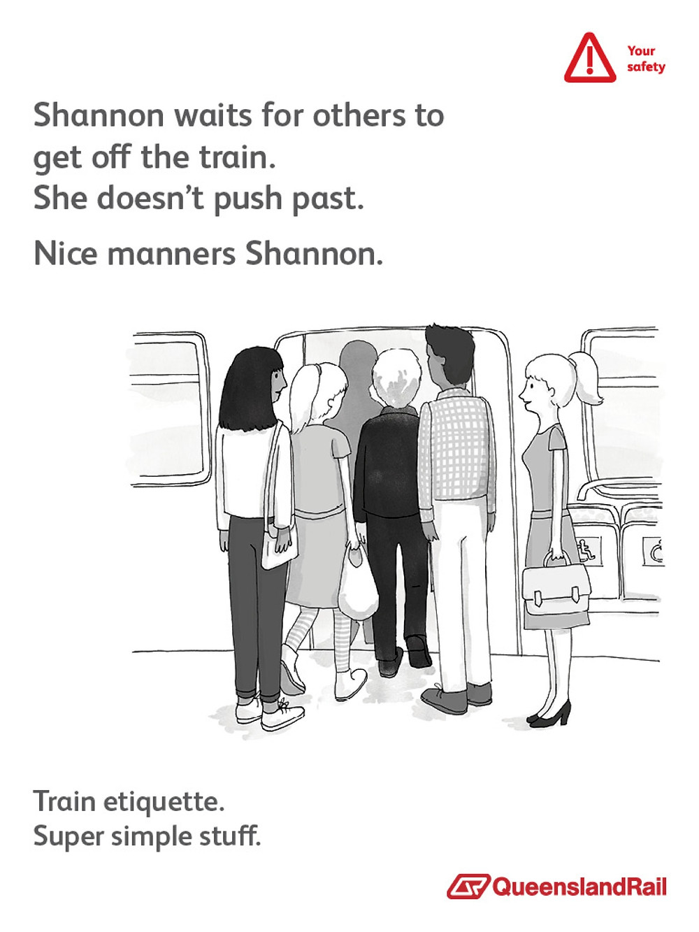 Train etiquette poster, shannon waits for others to exit the train before entering