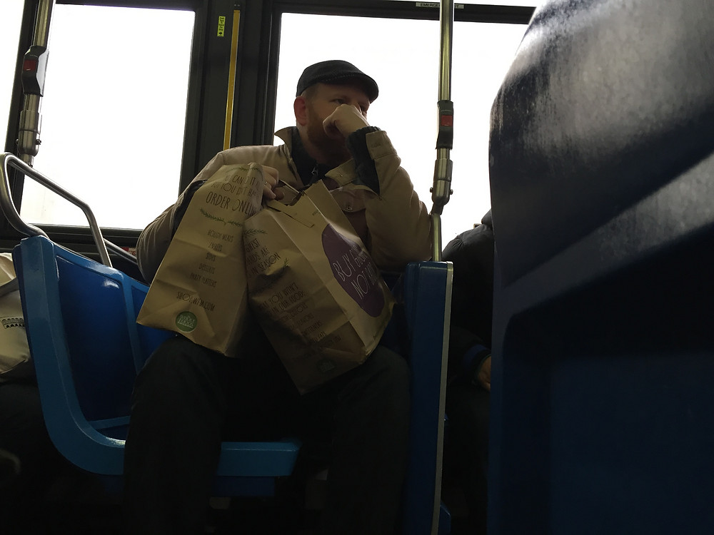 Manspread blocking the aisle on bus in new york, bagspread hogging seat behind #4