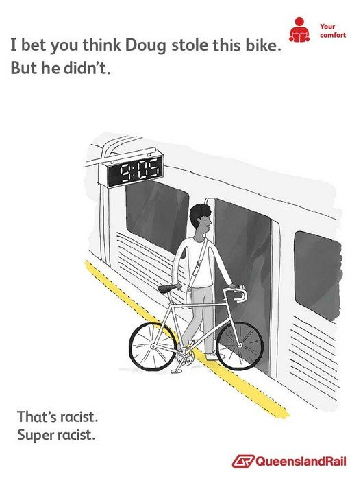 Train etiquette parody poster, i bet you think doug stole this bike