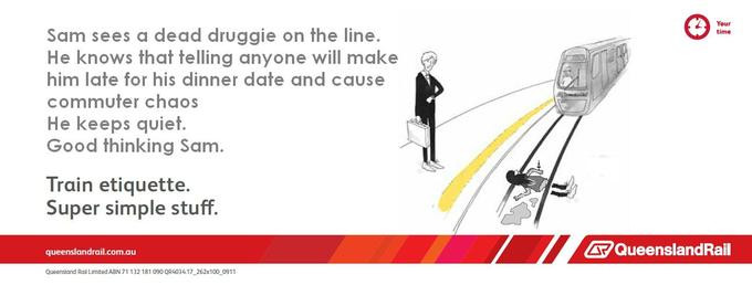 Train etiquette parody poster, sam doesn't report dead druggie on the tracks so it doesn't cause chaos for commuters