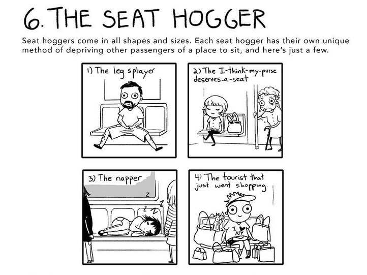 The 7 Weirdos You'll See on Public Transportation, #6 The Seat Hogger