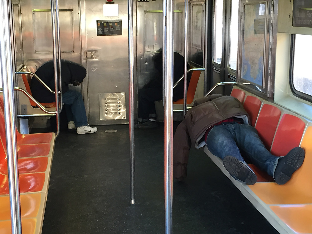 slumber party on the 1 train in nyc, 3 men sleeping #1