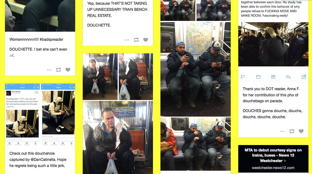 Douches on Trains example post of people being rude on subways 3