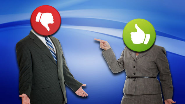 debate and argument between thumbs up and thumbs down