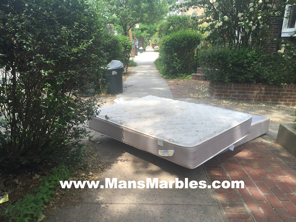 Rude homeowner obstructs entire sidewalk with a mattress #1