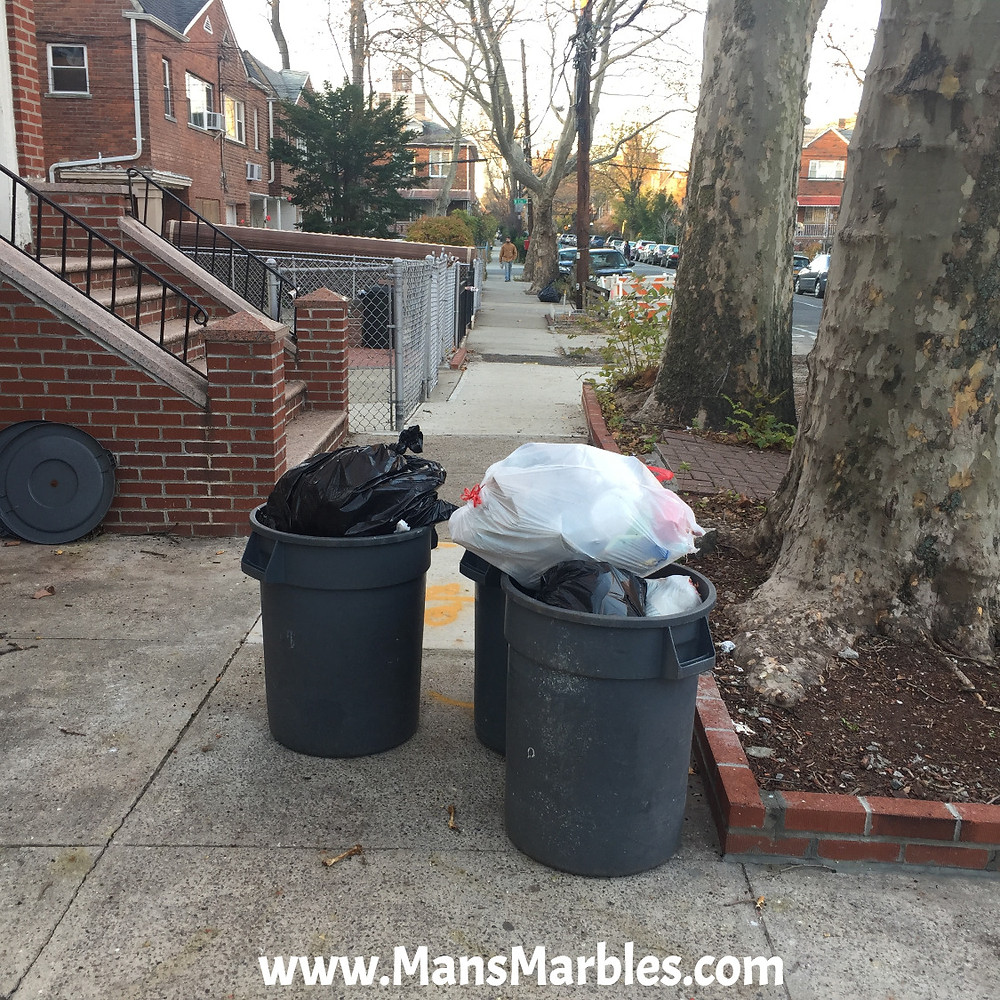 Rude homeowner obstructs sidewalk with their trashcans