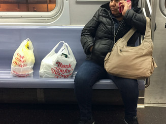 Womanspreading With Grocery Bags