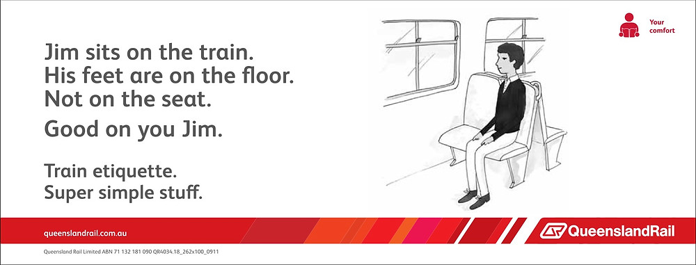 Train etiquette poster, Jim sits with feet on the floor