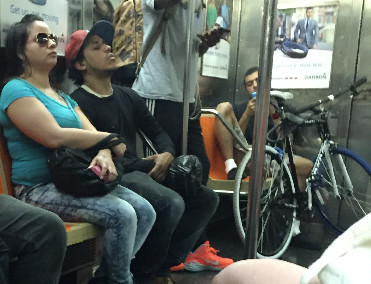 Man hogging 2 seats with bike and manspreading #3