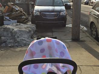 Car Parked on Sidewalk Blocks Baby Stroller
