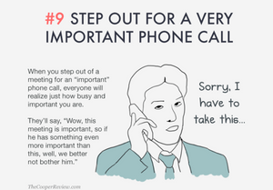 ten tricks to appear smart in meetings - step out for a very important phone call