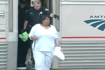 Lakeysha Beard being escorted off Amtrak quiet car for talking on cell phone for 16 hours