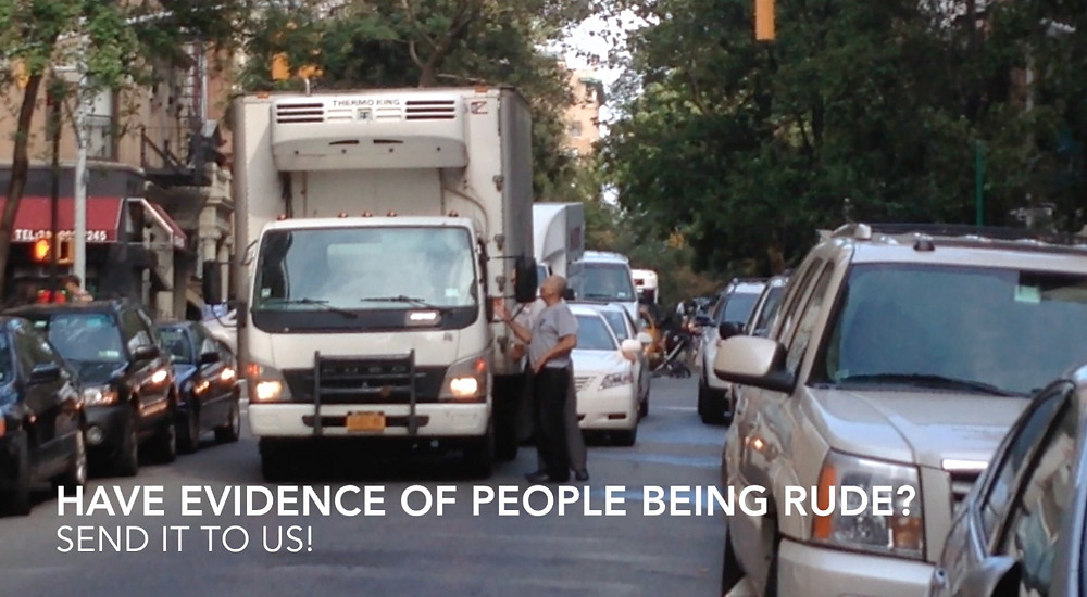 Doubled parked truck blocking traffic in NYC getting an earful from angry drivers