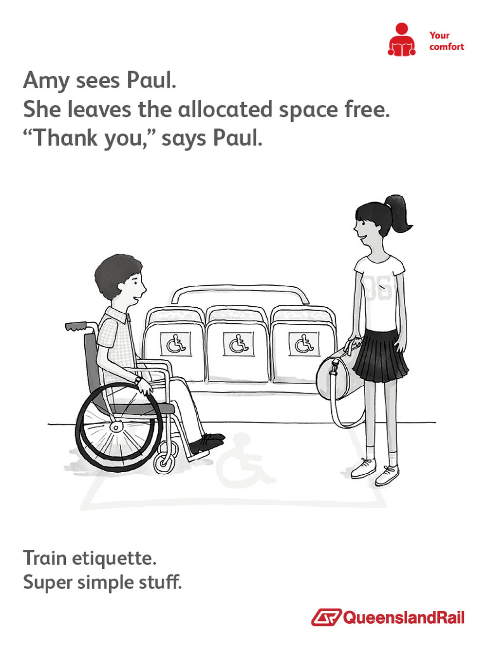 Train etiquette poster, Amy doesn't sit in designated wheelchair seat