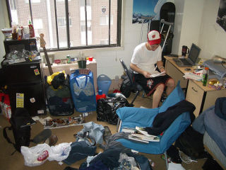 Slob roommate in a very messy room