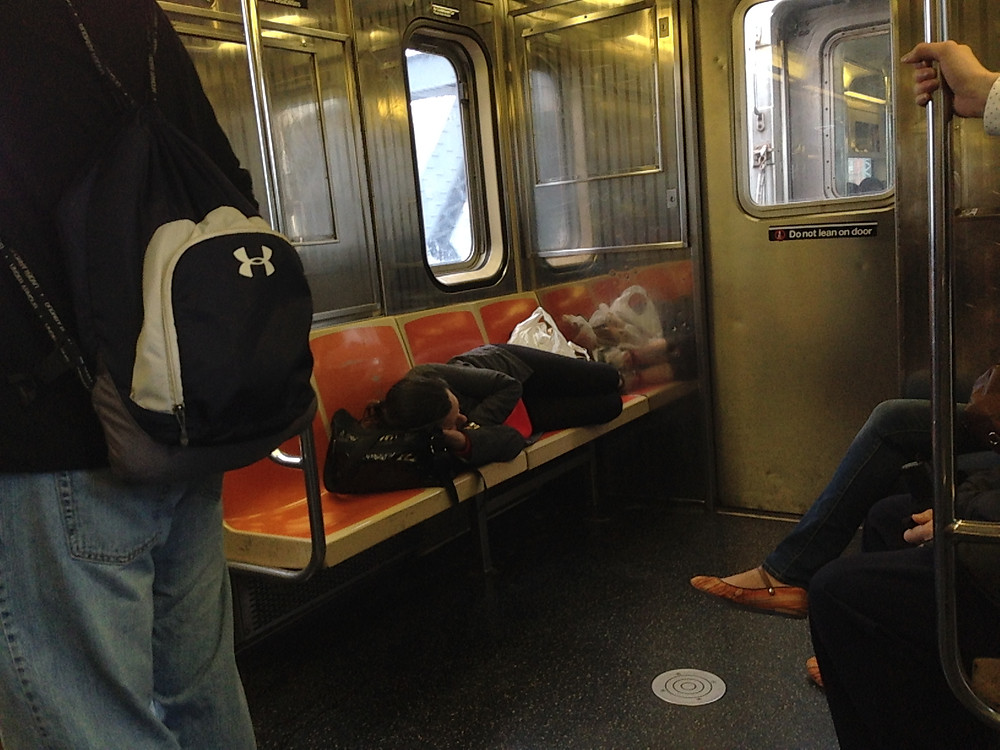 Woman Sleeping on the 1 train takes up 4 seats #1