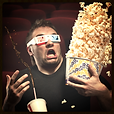 Fearful man in theater spilling popcorn and soda, Entertainment Etiquette Poll Category