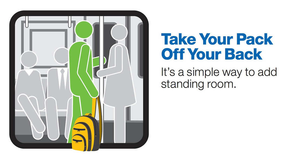 take off your backpack when riding the subway poster, part of NYC MTA's courtesy campaign