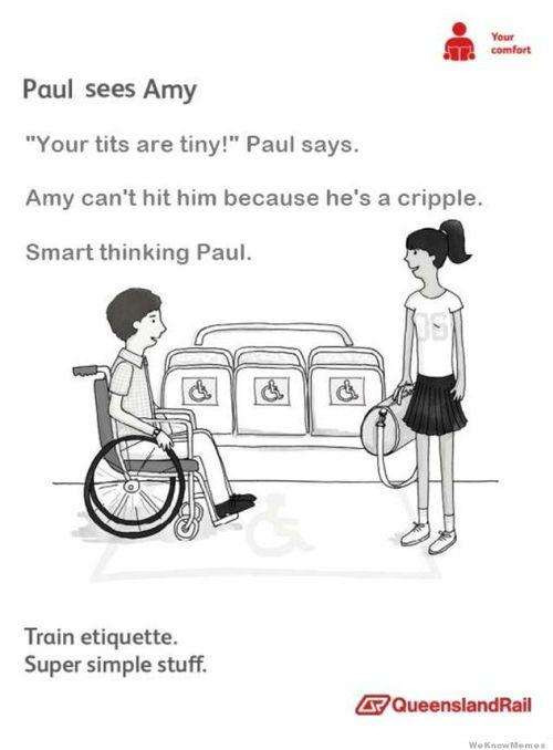 Train etiquette parody poster, paul sees amy and says she has small tits but she can't hit him because he is in a wheelchair