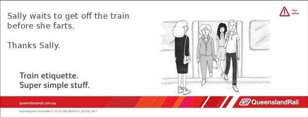 Train etiquette parody poster, sally gets off the train before she farts