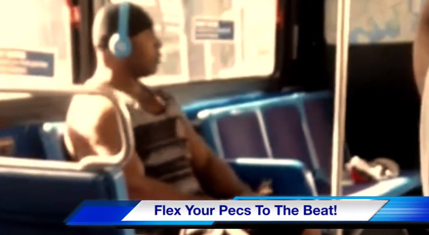 Dude flexing pecs, nip syncing, and titty twerking on the bus