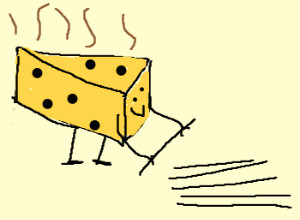Cheesy Pick-Up Lines, a piece of cheese picking up lines cartoon