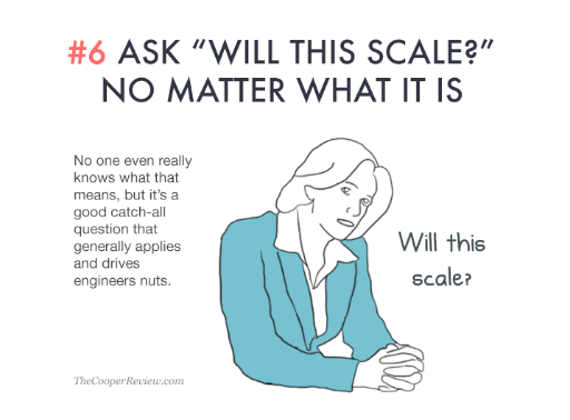 ten tricks to appear smart in meetings - ask will this scale no matter what it is