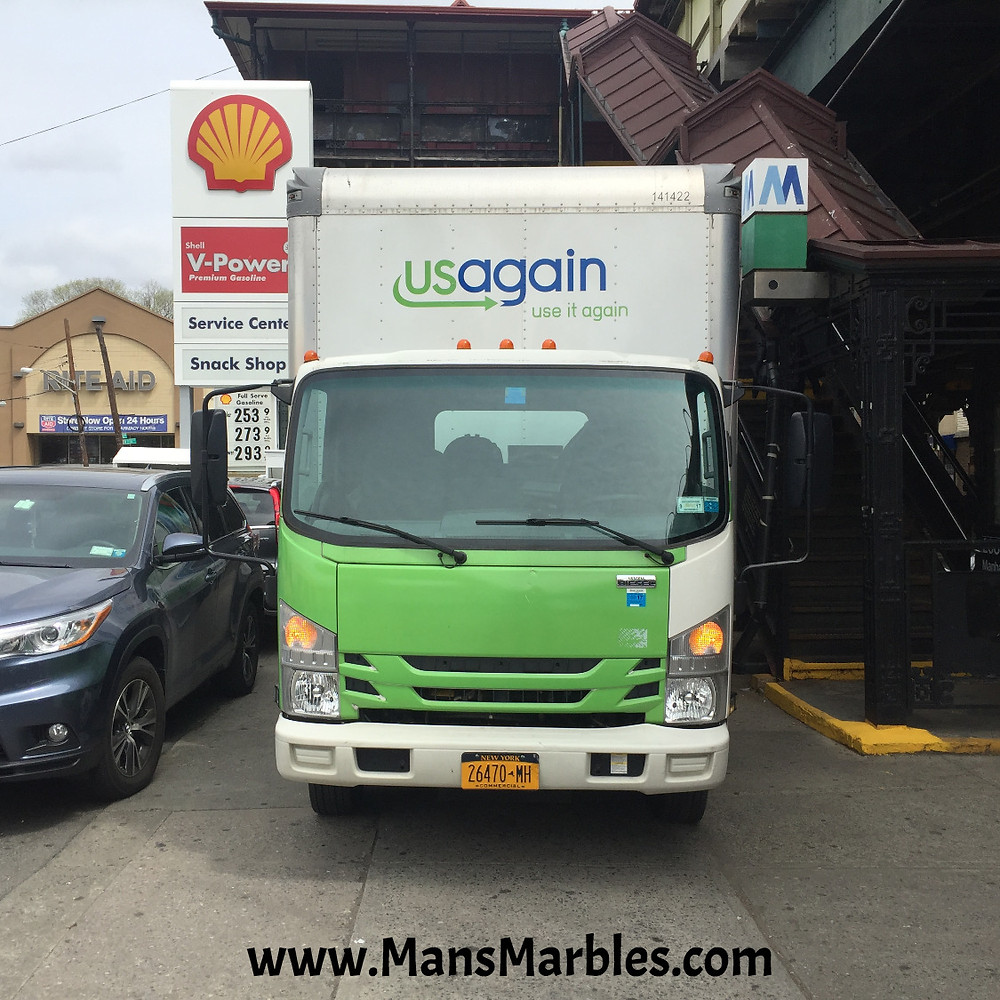 Rude USAgain truck driver parked on sidewalk