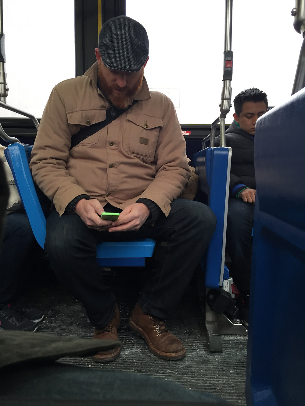 Manspread blocking the aisle on bus in new york, bagspread hogging seat behind #2