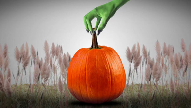 Green hand of a witch grabbing a pumpkin in an eerie Halloween field setting