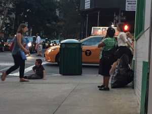 Nanny Chats on Phone While Kid Plays on Dirty NYC Sidewalk picture 2