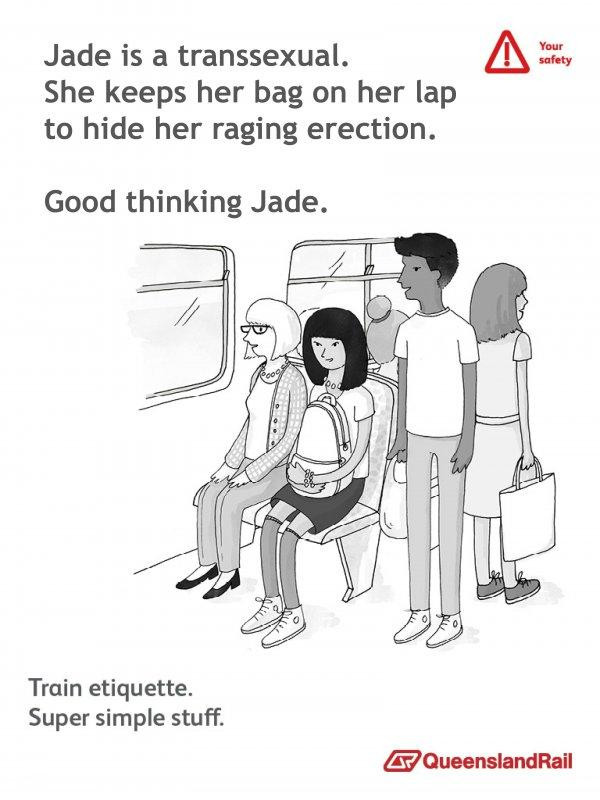 Train etiquette parody poster, jade is transexual and keeps bag on her lap to hide erection