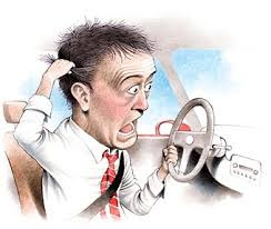 cartoon of annoyed driver