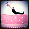 Wife dragging husband across a wedding cake, Relationships Etiquette Poll Category