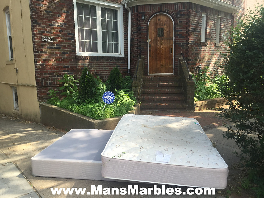 Rude homeowner obstructs entire sidewalk with a mattress #2
