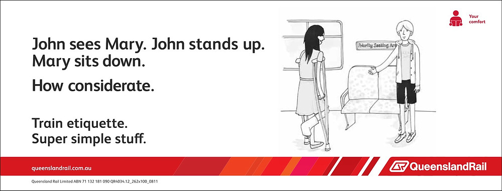 Train etiquette poster, john stands up so mary with crutches can sit down
