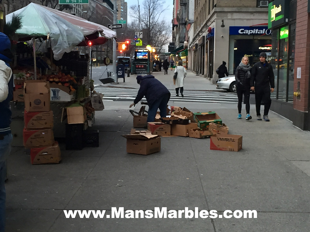 Produce stand employee hogs entire sidewalk with empty boxes #3