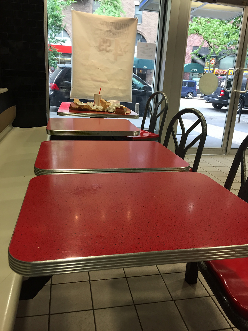Lazy slob leaves his garbage on a Burger King table for the imaginary waitstaff to clean #2