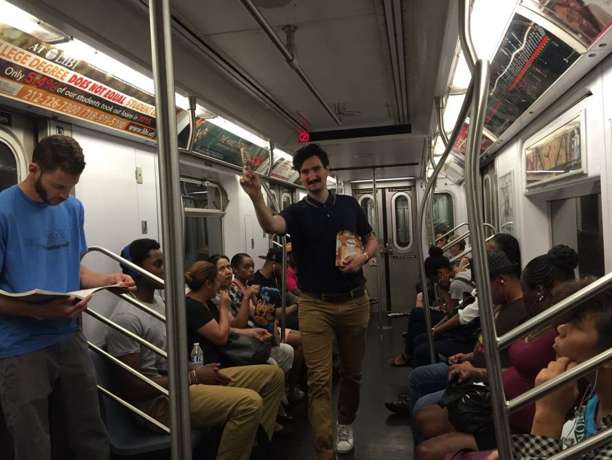 man unauthorized commercial activity on nyc subway train