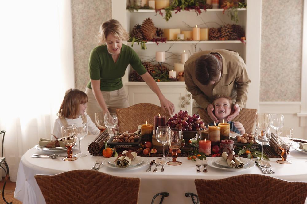Modern American family eating Thanksgiving dinner