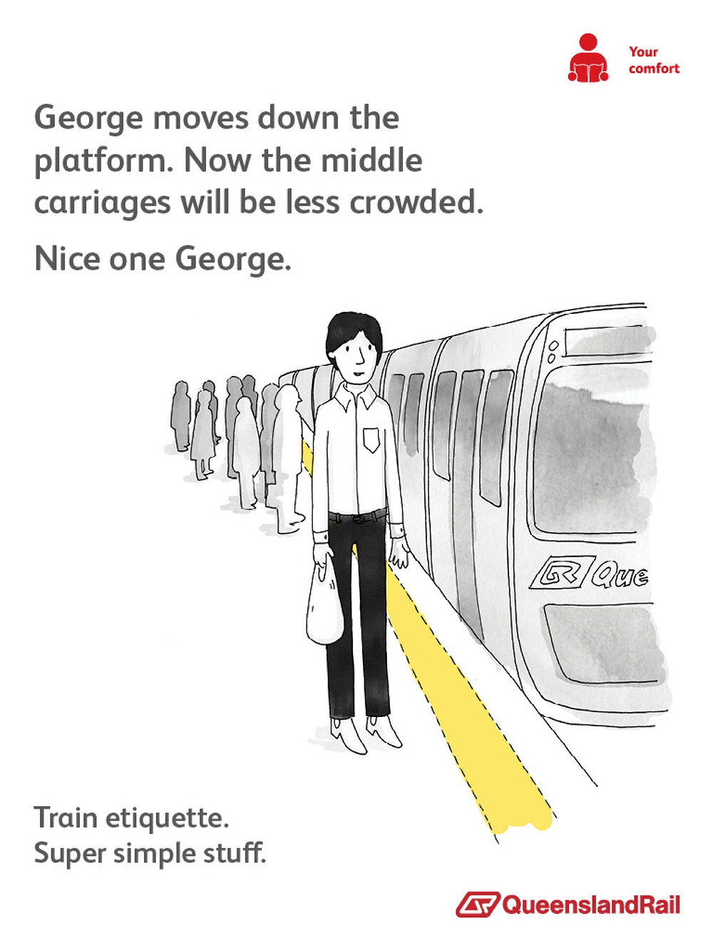 Train etiquette poster, john moves down the train so middle carriages arent so crowded