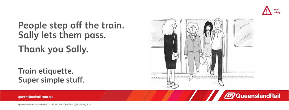 Train etiquette poster, sally steps to the side to let people exit the train