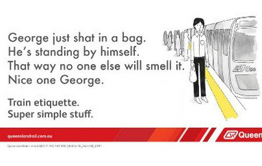 Train etiquette poster, george shat in a bag but is far from where people can smell it