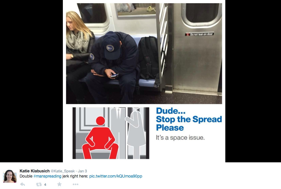 twitter Example of manspreading 2