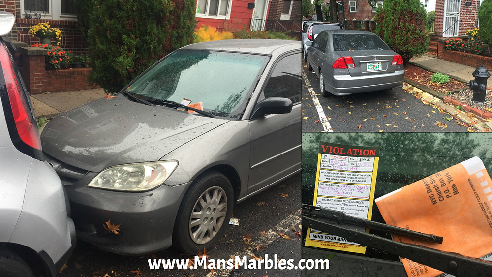 Car parking fail, left no room for other car to leave and illegally blocking a fire hydrant