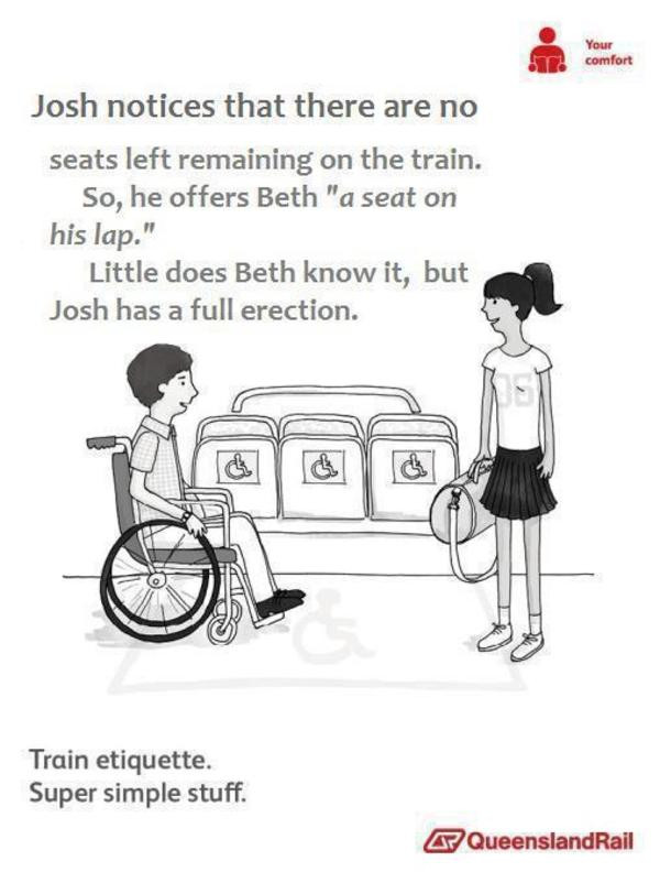 Train etiquette parody poster, josh in wheelchair offers to let amy sit on his erection