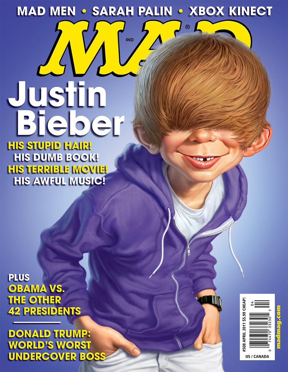 Justin Bieber shaggy hair caricature on cover of mad magazine
