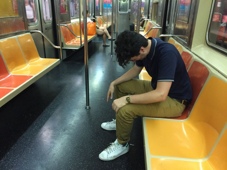 man drunk or impaired on nyc subway train